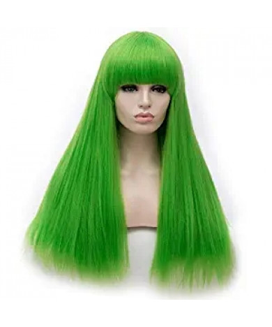 Cream Light Green Lolita Wig Long Straight Synthetic Hair Party Wig