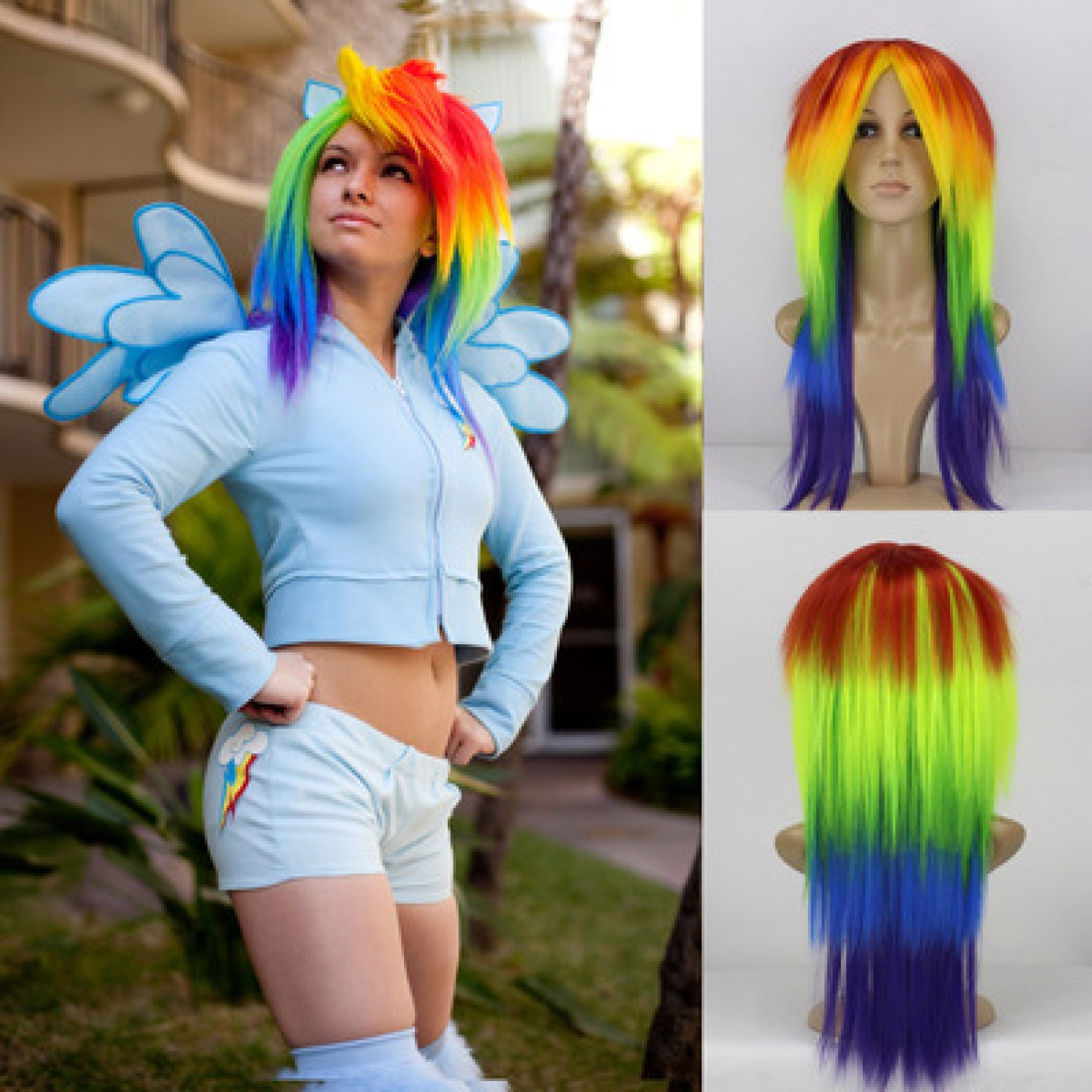 My Little Pony Rainbow Dash Personification Cosplay Wig + Tail Heat Resistant Fiber Party Wig