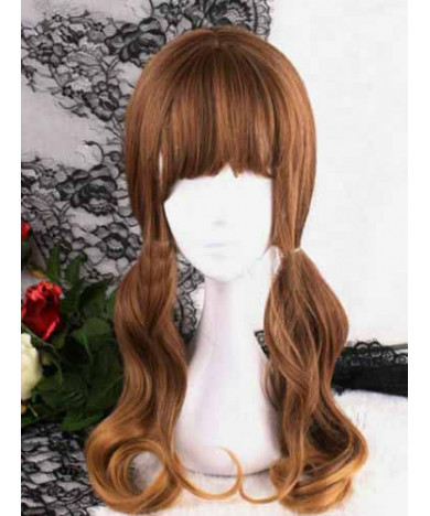 Brown Long Curly Heat Resistant Fiber Sweet Lolita Wig