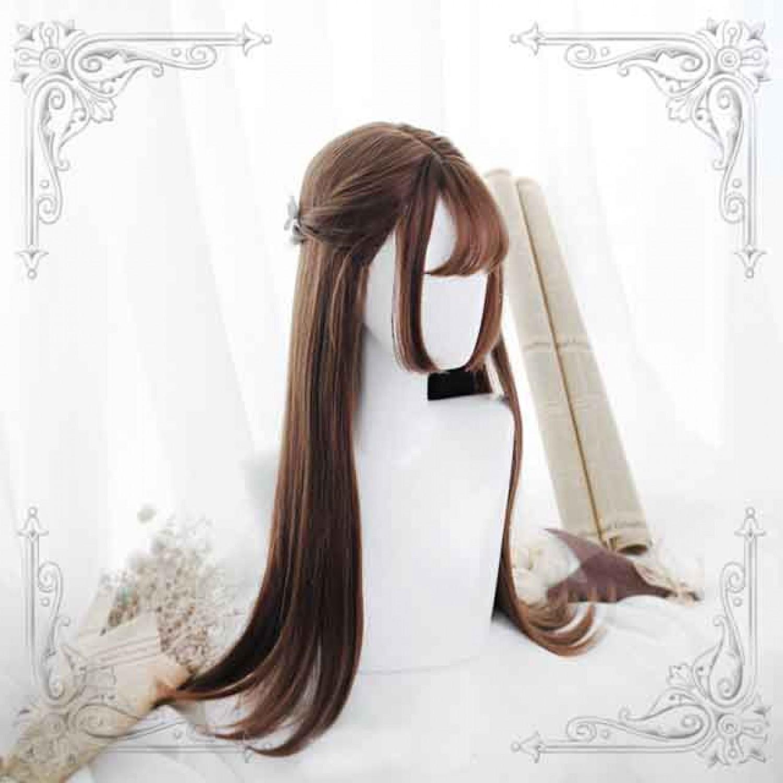 Dark Brown Long Straight Sweet Hair Sweet Lolita Wig
