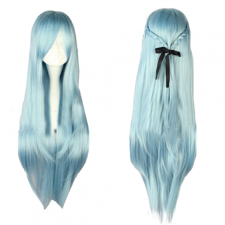 Alfheim Online Asuna Cosplay Wig Long Straight Light Blue Anime Styled Wig