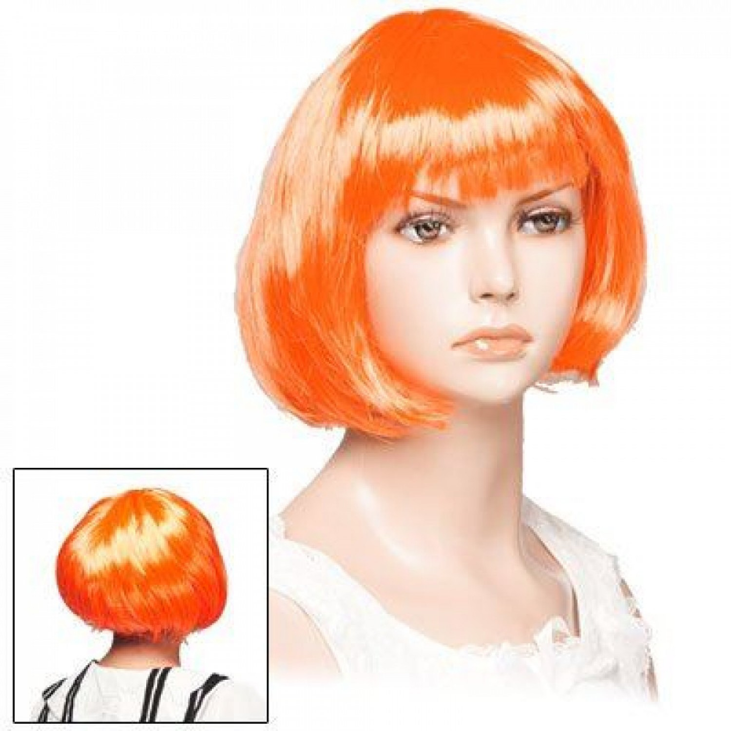 The Fifth Element Leeloo Orange Short Bob Cosplay Hair Wig