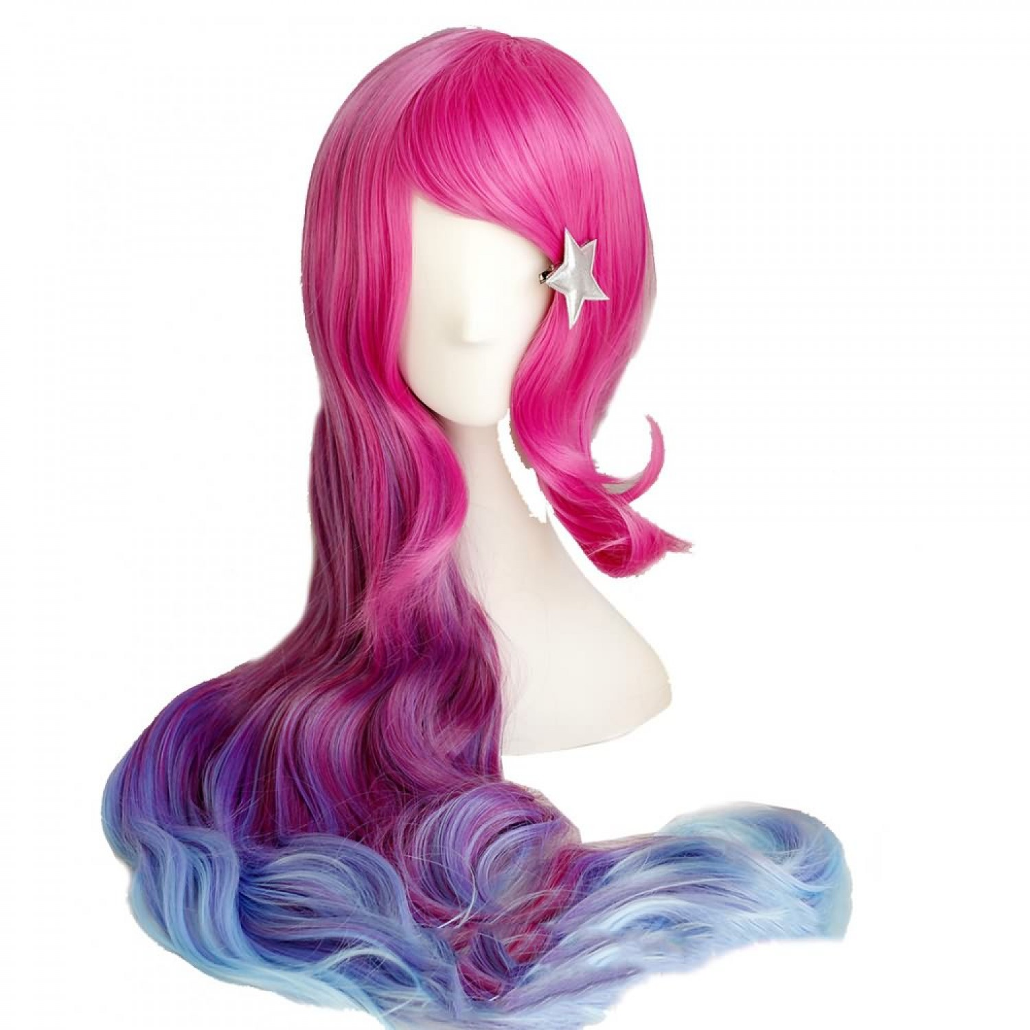 Arcade Miss Fortune Long Wavy Red and Blue Gradient Cosplay Hair Wig