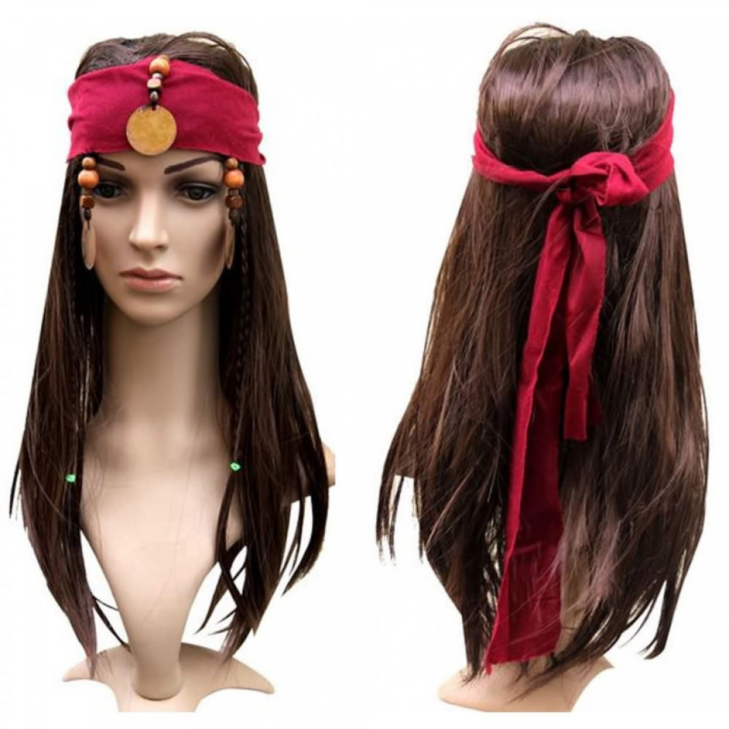 Pirates of the Caribbean Jack Sparrow Costume Cosplay Hair Wig
