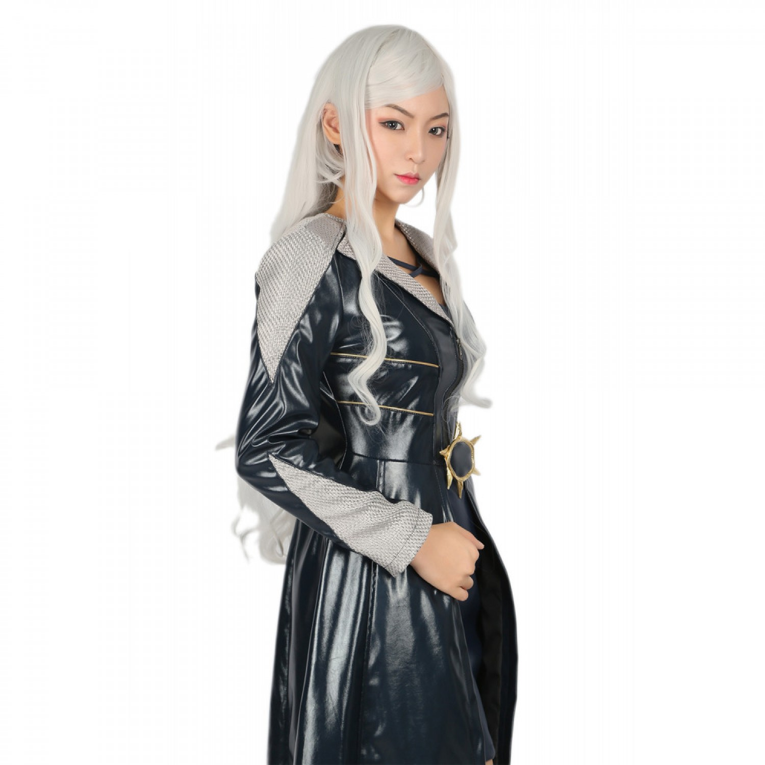 The Amazing Spider Man Black Cat White Long Wavy Cosplay Wig 70 cm