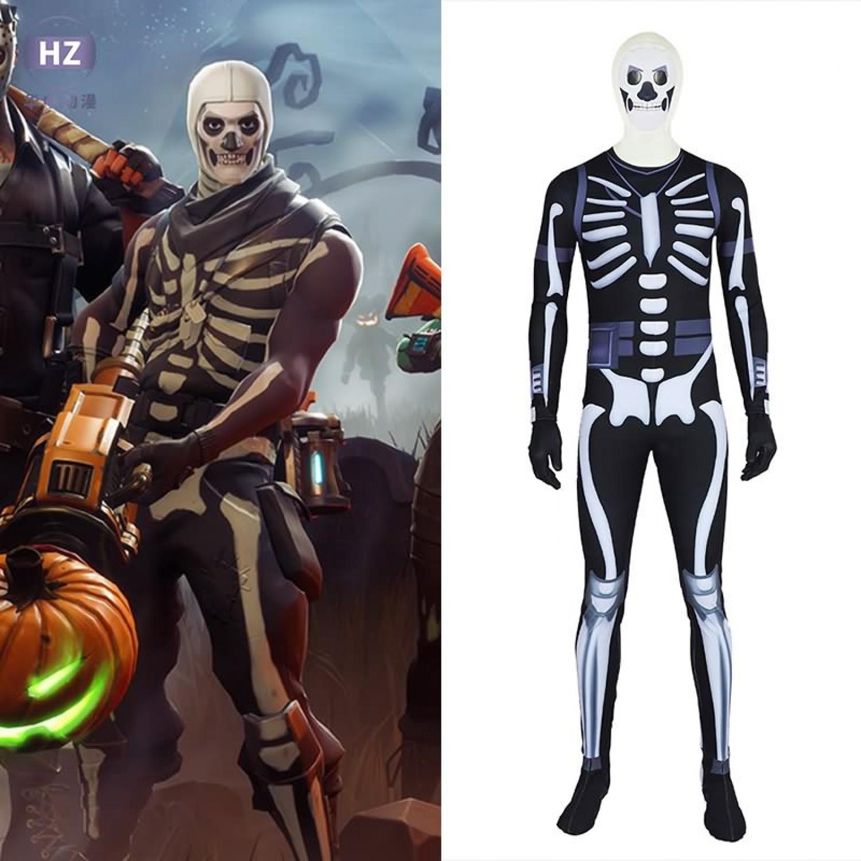 Fortnite Skull Trooper Spandex Onesie Jumpsuit Cosplay