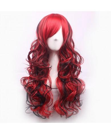 Black Mixed Red Long Wavy Heat Resistant Fiber Side Bang Lolita Wig