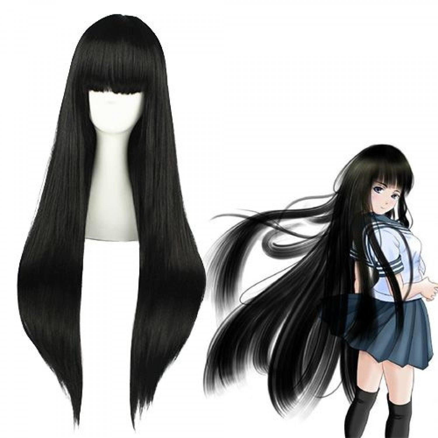 A Certain Magical Index Aisa Himegami Black Cosplay Wig 100 cm