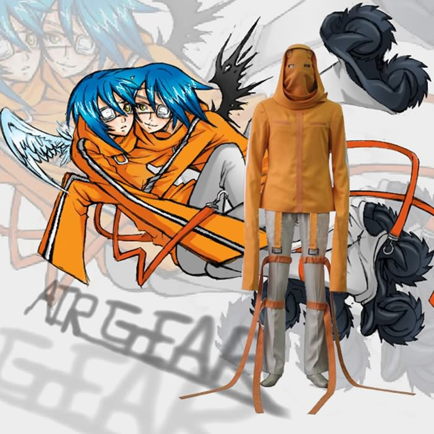Air Gear Akito Agito Wanijima Cosplay Outfits Costumes