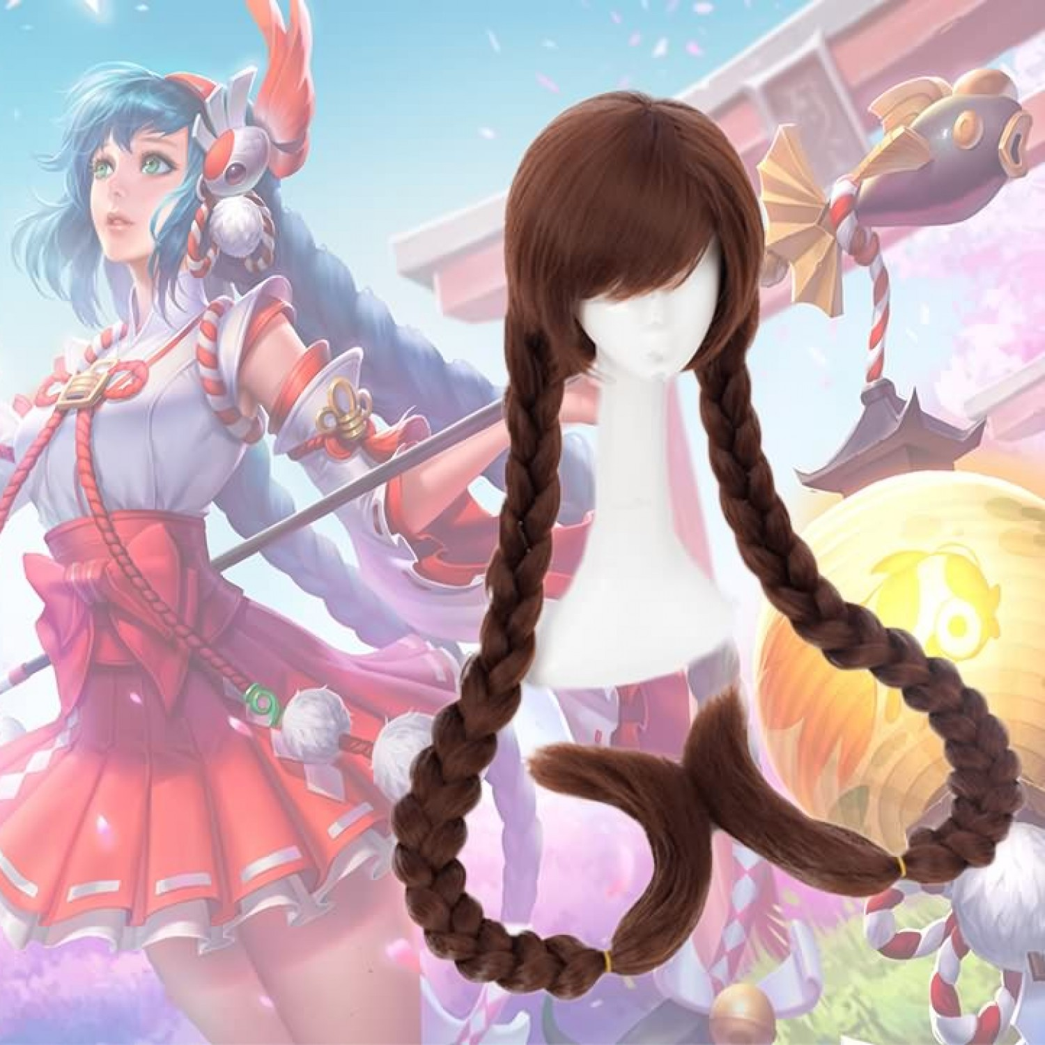 Arena of Valor 5v5 Arena Game Long Da Qiao Two Braid Cosplay Wigs