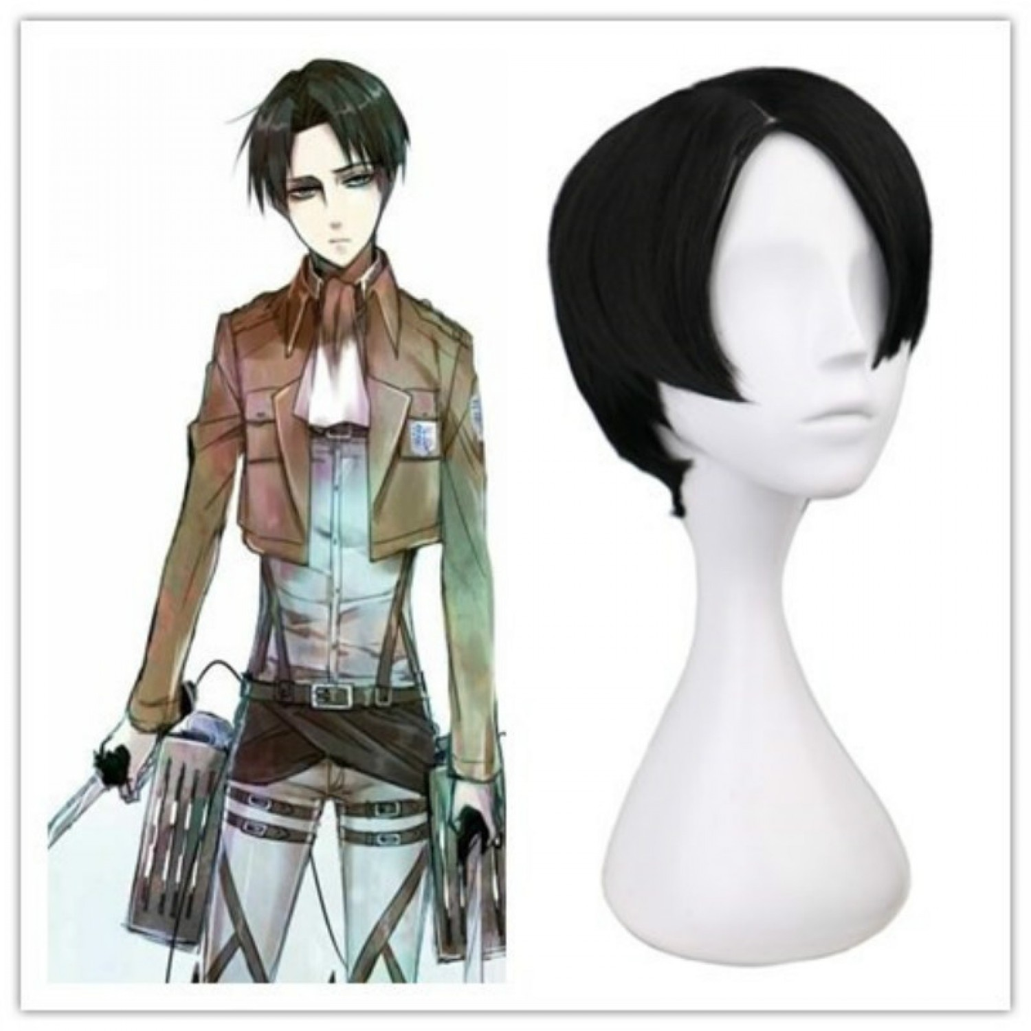 Cheap Attack On Titan Levi Ackerman Japan Anime Cosplay Wigs