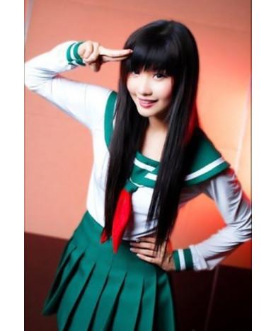 Inuyasha Higurashi Kagome Long Straight Black Cosplay Wig