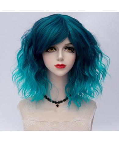 Blue Ombre Short Wavy Heat Resistant Fiber Full Lolita Wig