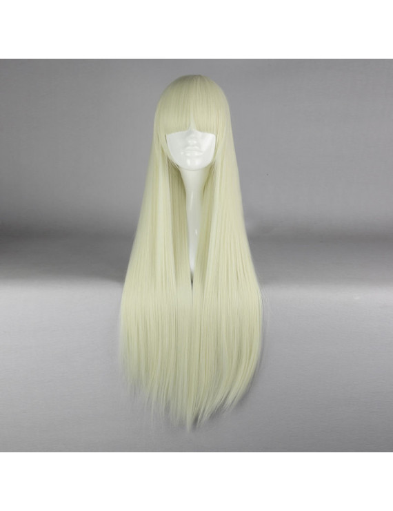 Fashion Light Blonde Long Straight Lolita Wig with Bangs 80CM