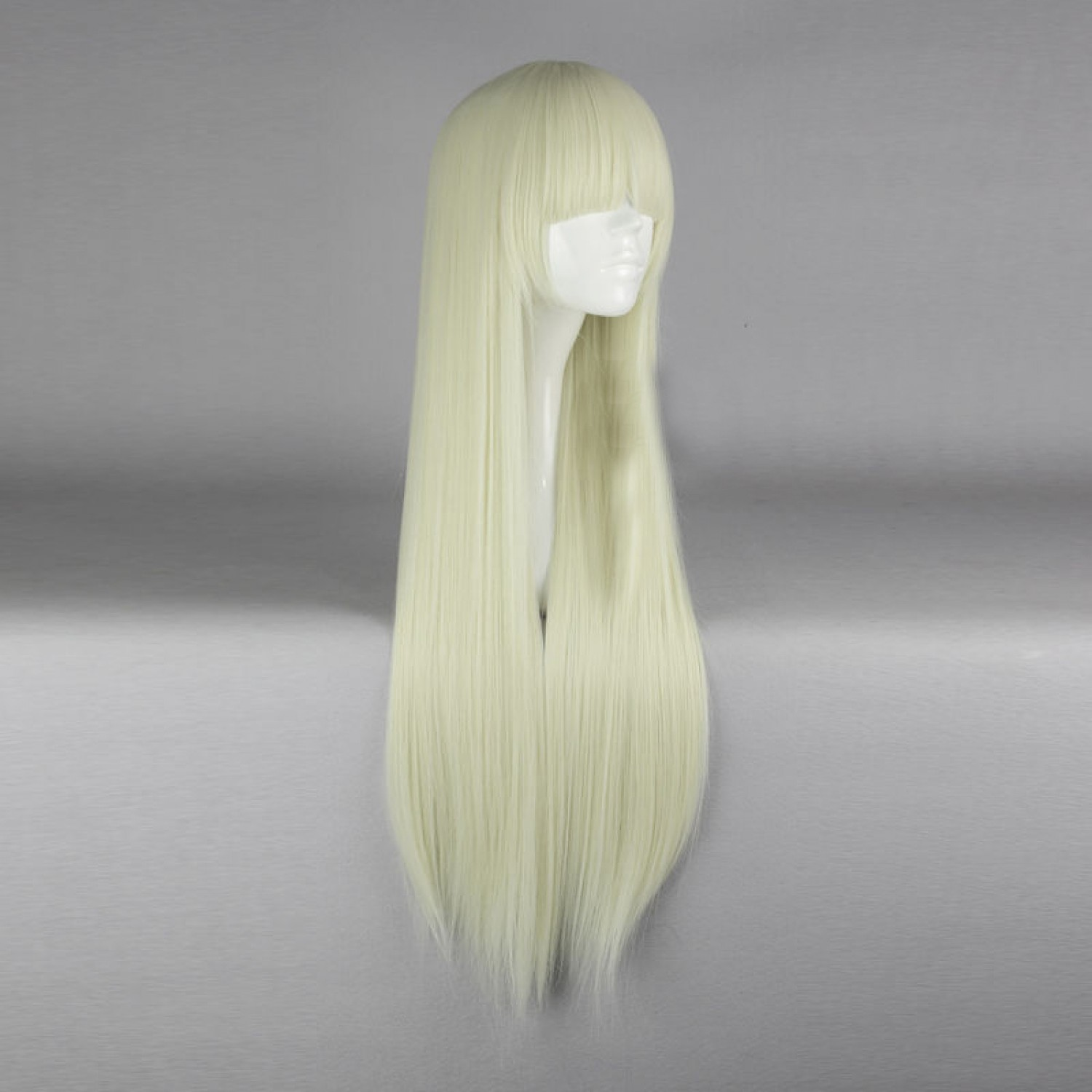 Fashion Light Blonde Long Straight  Lolita Wig with Bangs 80CM