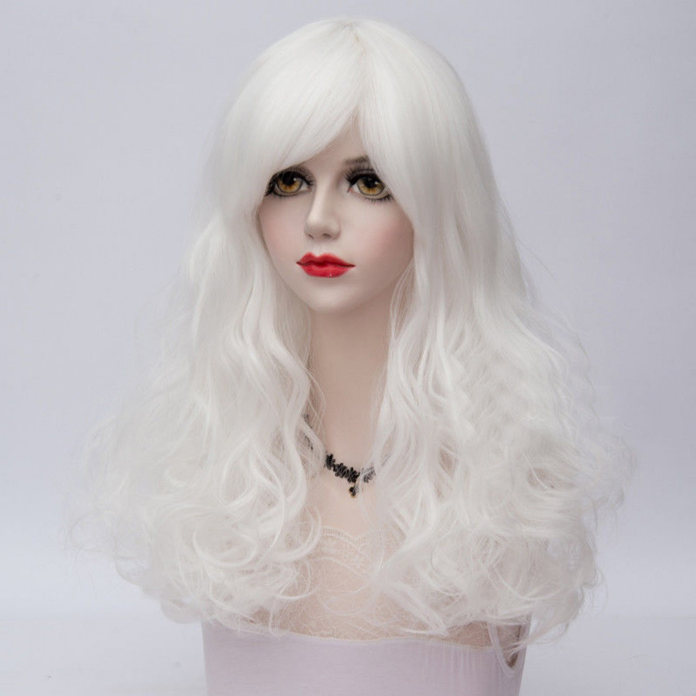 Long Wavy White Heat Resistant Fiber Fashion Lolita Wig 60 cm