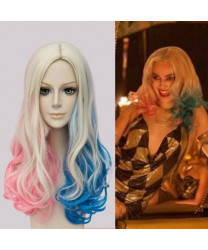 Suicide Squad Harley Quinn Red Blue Mixed Color Cosplay Wigs