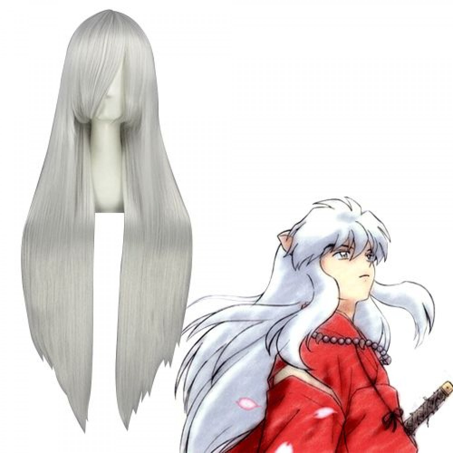 Inuyasha Inuyasha Long silver Cosplay Wig with Ears 100 cm