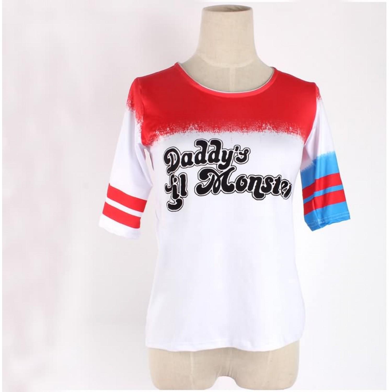 Batman Suicide Squad Harley Quinn T Shirt Cosplay Costume