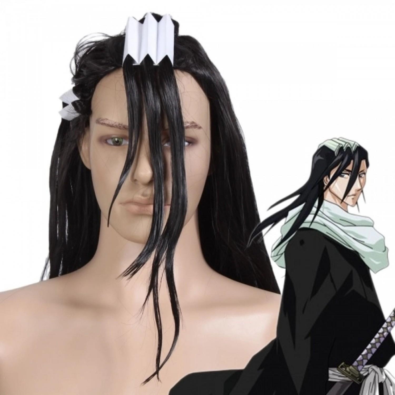 Bleach 6 Division Kuchiki Byakuya Black Anime Cosplay Wig