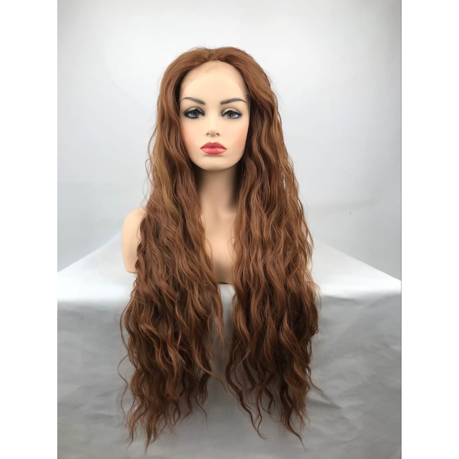 Light Brown Long Curly Heat Resistant Fiber Lace Front Lolita Wig