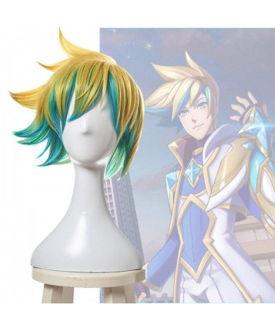 League of Legends EZ Ezreal Gold Green Short Cosplay Wig