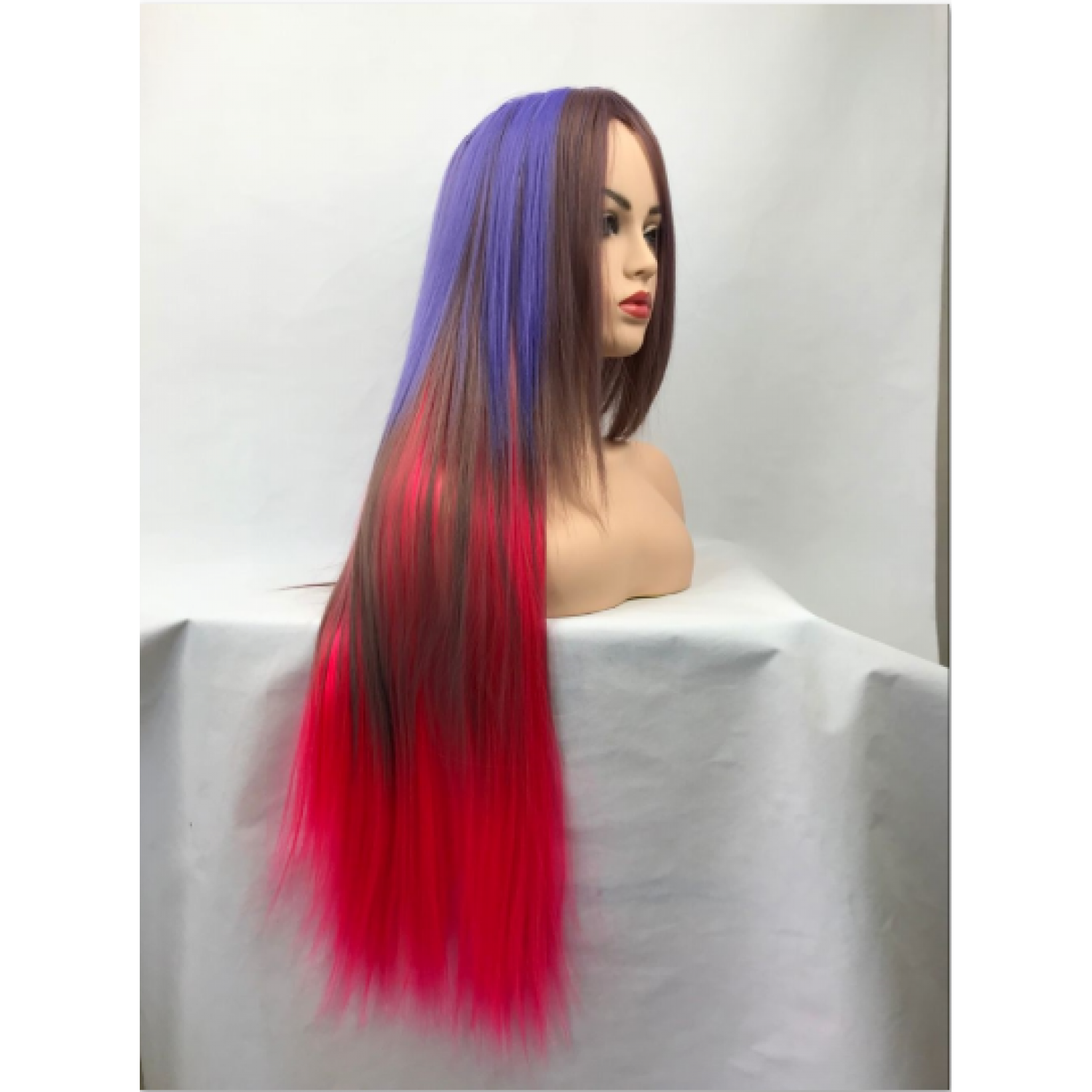 Long Straight Mixed Color Heat Resistant Fiber Party Wig