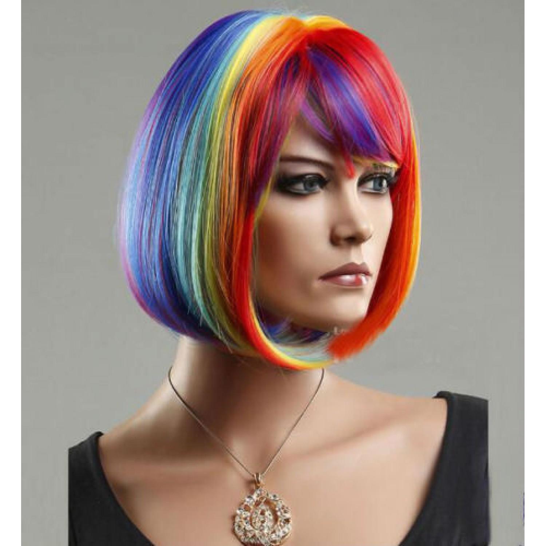 Short Multicolor Rainbow Straight BOB Cosplay Wig