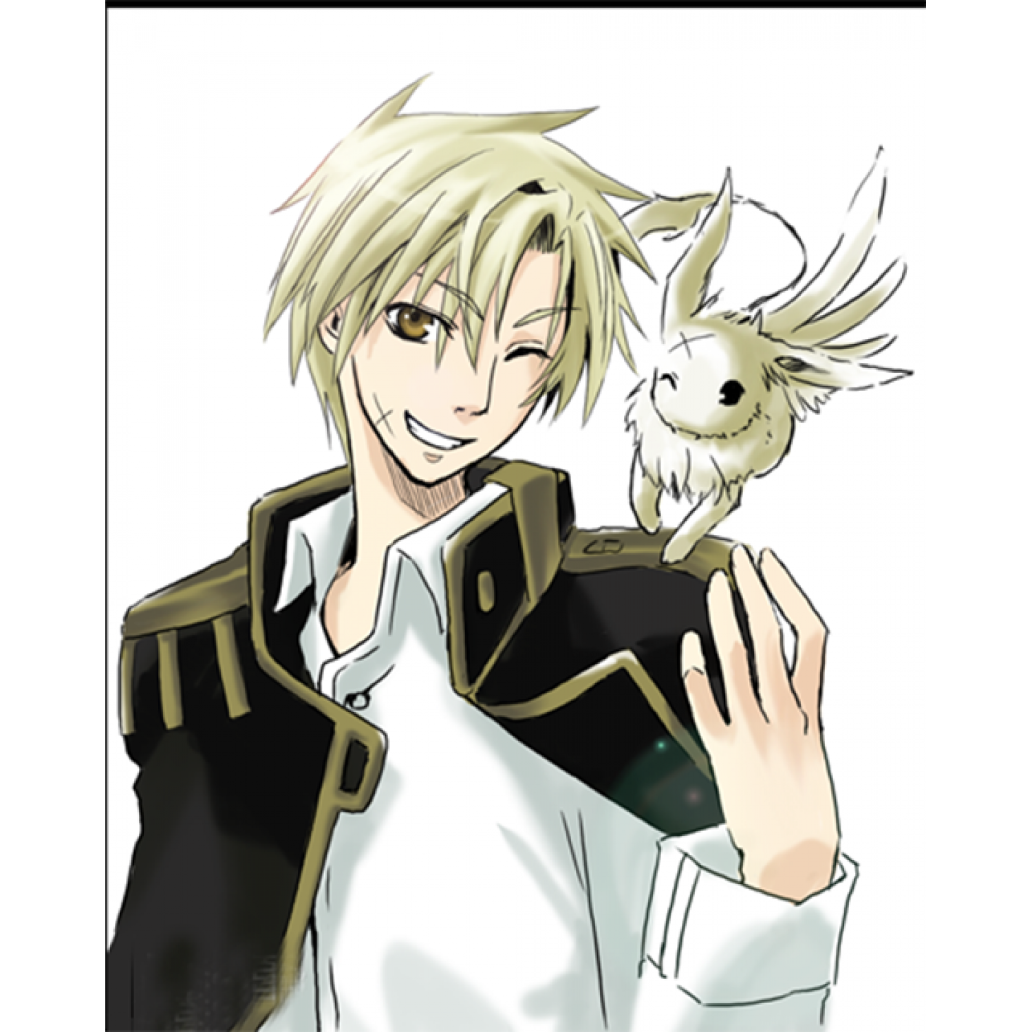 07-Ghost Mikage Short Golden Cosplay Wig
