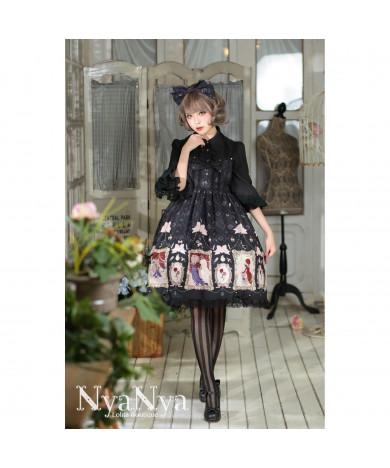 Black Bear Prince High Waist Hanging Neck Lolita Dress
