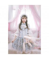 Bear Prince Printed lace strap Sling Skirt Lolita Dress