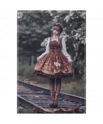 Long sleeve High Waist Hanging Neck Lolita Dress
