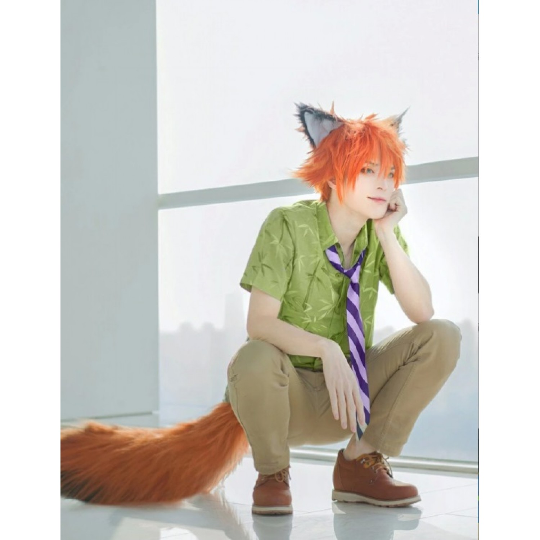 Unisex ZooTopia Fox Nick Wilde Wig /& Ears Short Hairstyle Costume Accessories