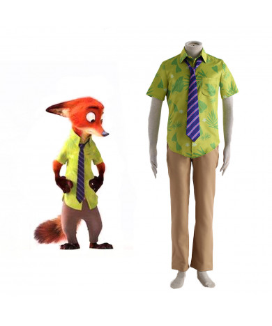 Zootopia Fox Nick Wilde Cosplay Outfits Costumes Full Set