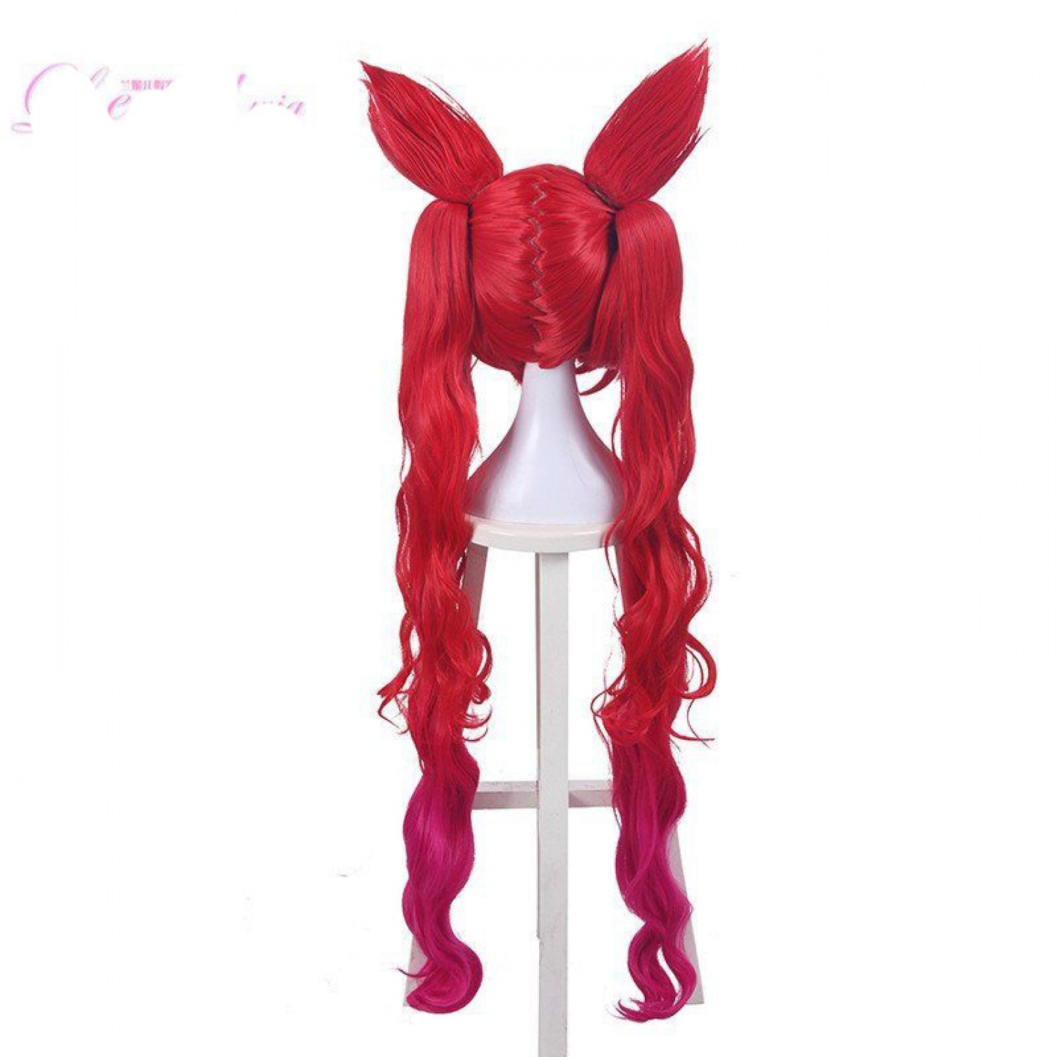 League of Legends LoL Star Guardian Jinx Long Two Ponytail Two Ears Cosplay Wig