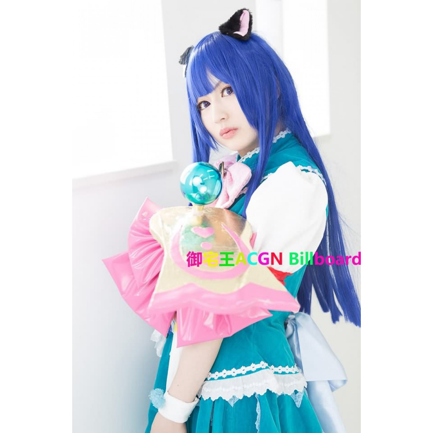 When They Cry Furude Rika Blue Long Straight Cosplay Wig