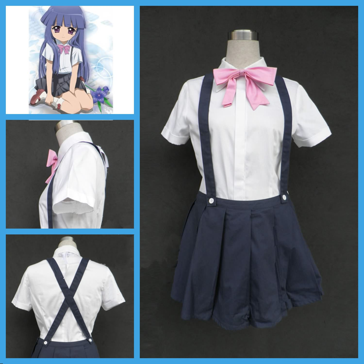 When They Cry Furude Rika Suspender Dress Cosplay Costumes