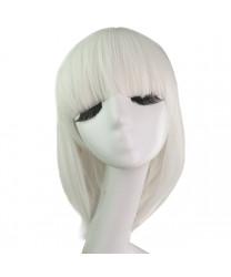 Anime Game Short White Medium Length Straight Bangs Cosplay Wig