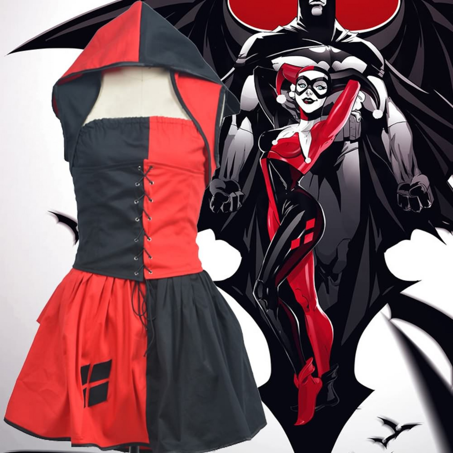 Batman and Harley Quinn Skirt Halloween Cosplay Costumes