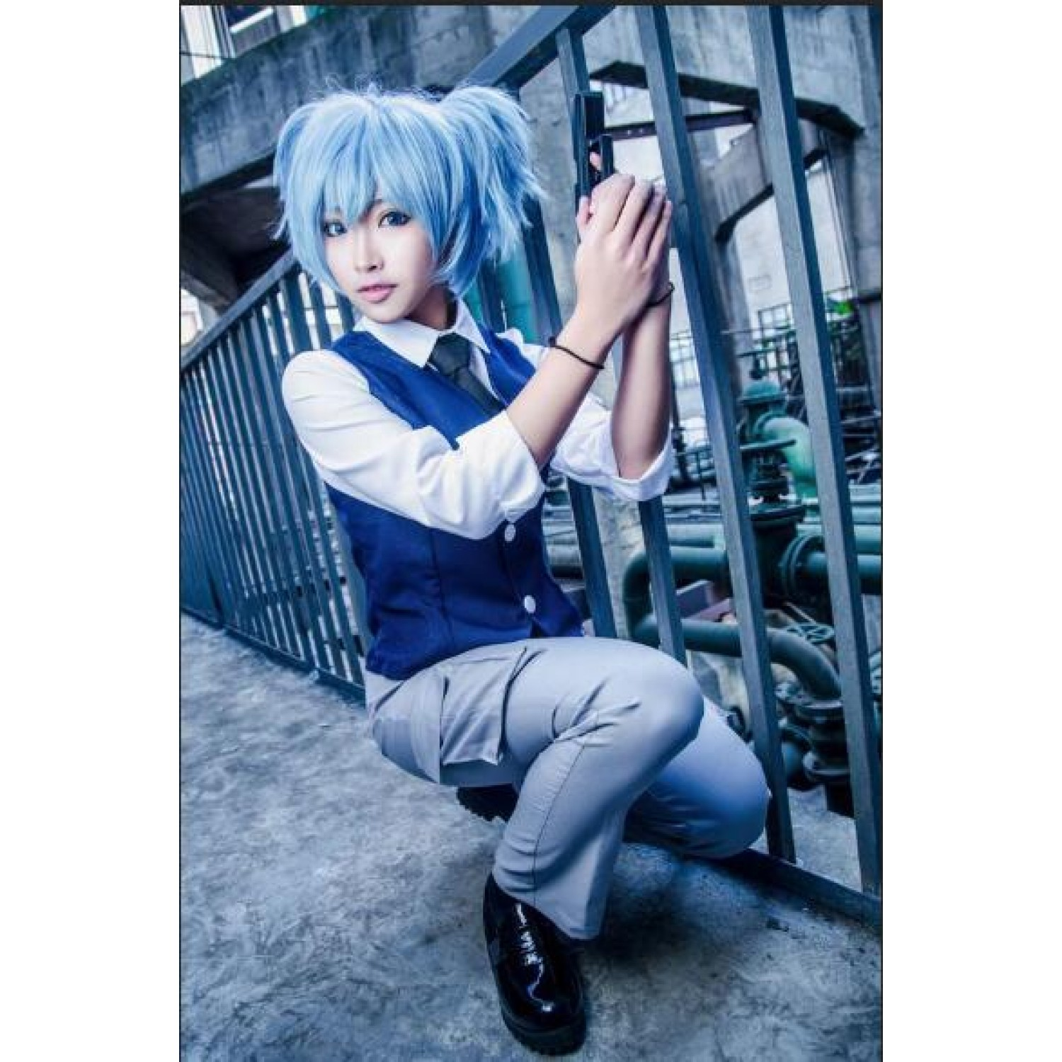 Assassination Classroom Shiota Nagisa Blue Female Cosplay Costume
