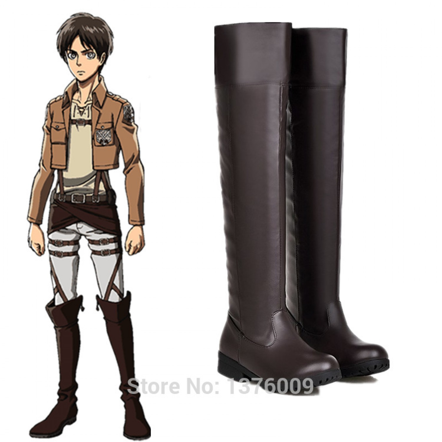 Attack on Titan Eren Yeager PU Cosplay Boots Shoes
