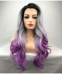 Lace Front Long Wavy Purple Ombre Synthetic Hair Women Wig