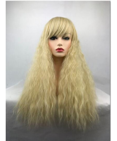 Blonde Long Curly Heat Resistant Fiber Full Synthetic Hair Wig with Full Bang