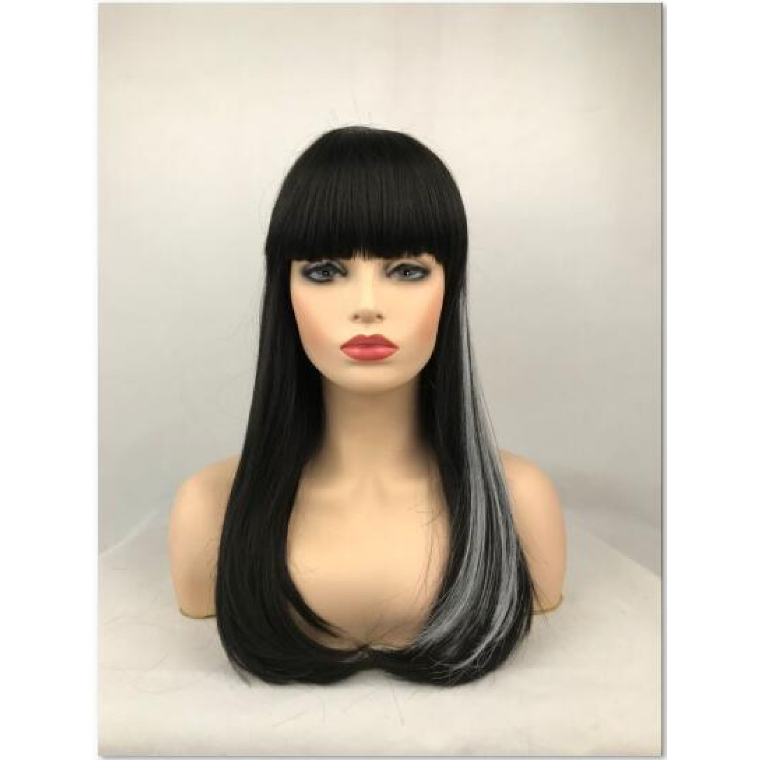 Black Mixed White Long Straight Synthetic Hair Full Wig with Bangs