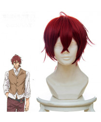 Violet Evergarden Hawkins Short Layered Wine Red Styled Cosplay Wig
