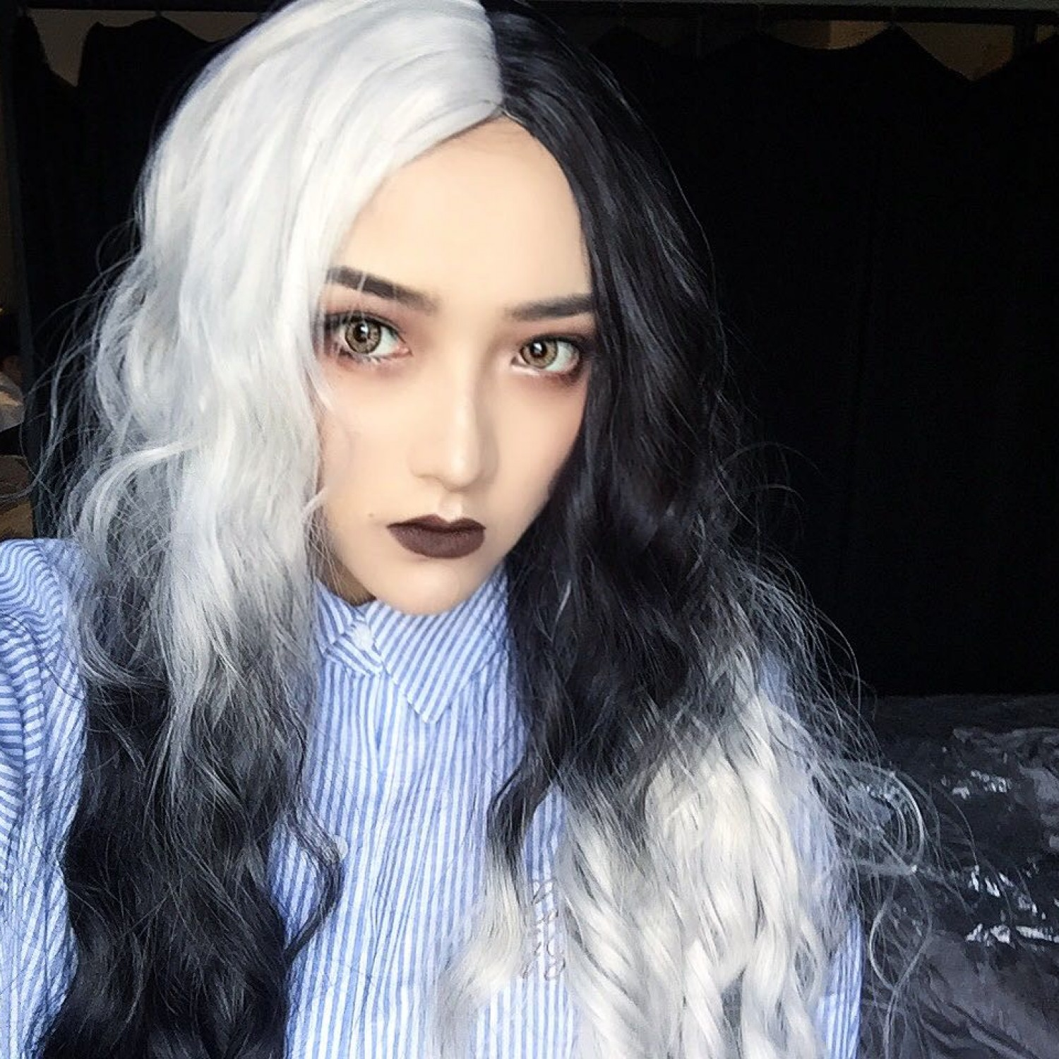 Black And White Dark Black Long Curly Synthetic Hair Lolita Wig