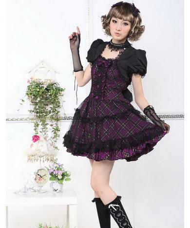 Black Cotton Short Sleeve Bow Square-collar Gothic Lolita Dress
