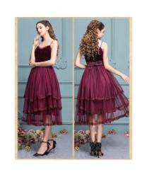 Sweet Dark Red Lace Slim Mesh jsk dress ,High Waist Sleeveless Suspender, Princess Lolita Dress