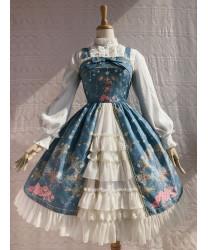 Sweet Lolita JSK Dress Cross Flower Printed Sleeveless Women Dress