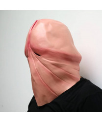 Funny natural latex penis dick head full face cosplay mask